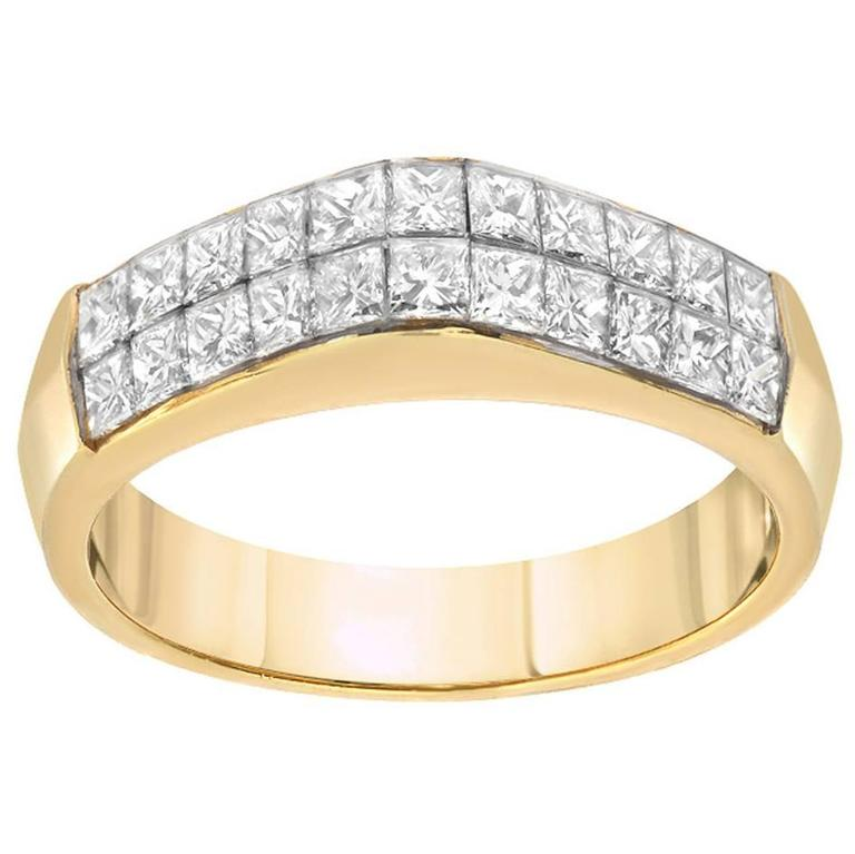 Diamond Princess Cut Gold Dome Ring