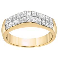 Diamond Princess Cut Gold Dome Ring