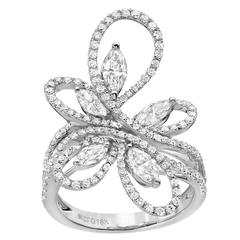 Diamond Flower Pave Gold Ring