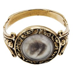 1860 English George IV Painted Image Of The Eye Of Your Lover Gold Engraved Ring