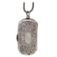 Antique Victorian Sterling Silver Coin-Holder Locket, 1880s