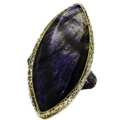 Large Blue Labradorite Marquise Ring in Gold and Oxidized Sterling Silver