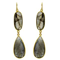 Large Faceted Labradorite Drop Earrings with Ovals and Pears