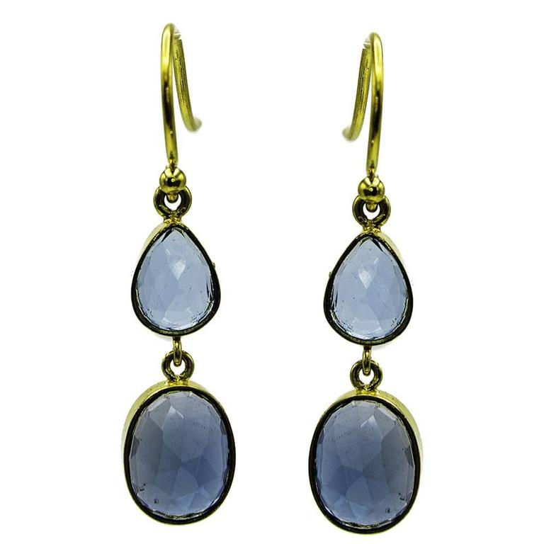 blue topaz and gold drop earrings for sale at 1stdibs