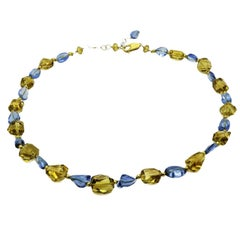 Blue Topaz Citrine Faceted Baroque Bead Necklace