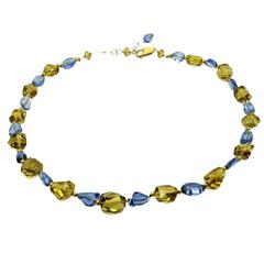 Blue Topaz and Citrine Faceted Bead Necklace
