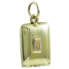 Gold Cigarette Case Charm with White Enamel Cigarettes