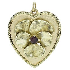 Large Gold Pansy Heart Pendant Charm