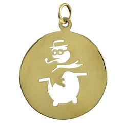 Gold Snowman Charm