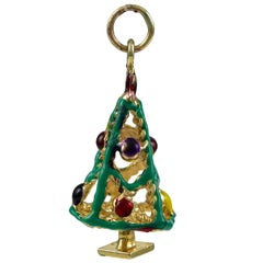 Christmas Tree Gold and Enamel Charm