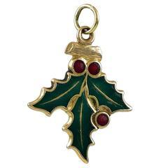 Mistletoe Gold and Enamel Charm