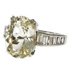 Large Oval Light Yellow 9.60 Carat Sapphire Diamond Platinum Engagement Ring