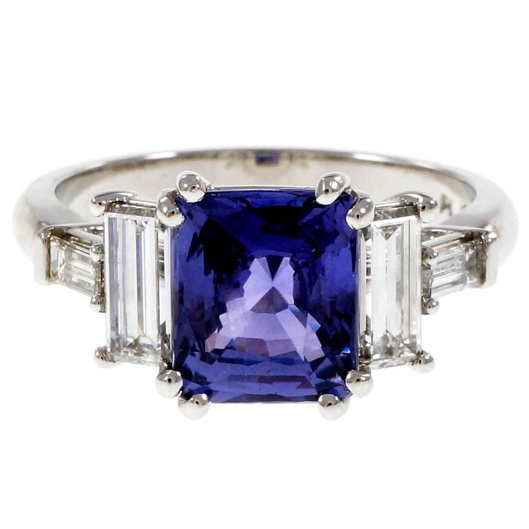 Peter Suchy Violet Natural Sapphire Platinum Engagement Ring