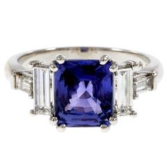 Peter Suchy Violet Natural Sapphire Platinum Engagement Ring