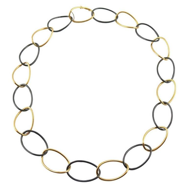 Jona High Tech Black Ceramic Gold Curb Link Necklace