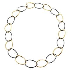 Jona High Tech Black Ceramic  and 18 Karat Gold Curb Link Necklace