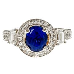 Natalie K Natural Sapphire Diamond Halo Engagement Platinum Ring