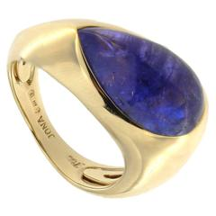 Jona Tanzanite Cabochon Drop Gold Ring