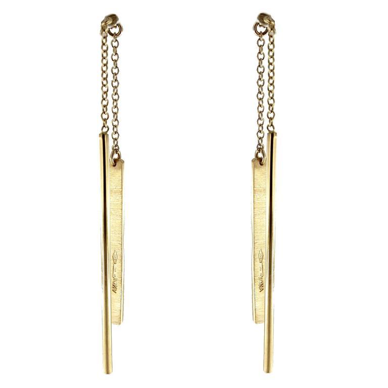 Jona Gold Bar Ear Pendant Earrings 1
