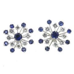 Diamond Sapphire Snowflake Earrings