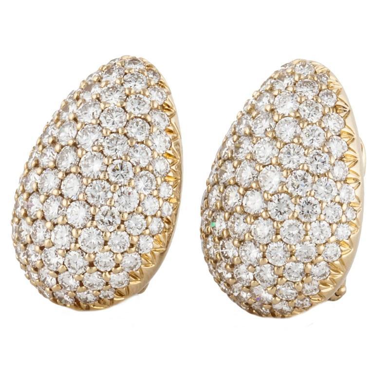 Pave Diamond Clip Earrings