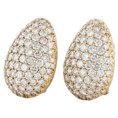 Pave Diamond Clip Earrings
