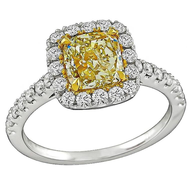 1.59 Carat Natural Fancy Yellow Diamond Gold Engagement Ring For Sale