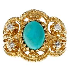 Natural Persian Turquoise Diamond Gold Byzantine Cocktail Ring