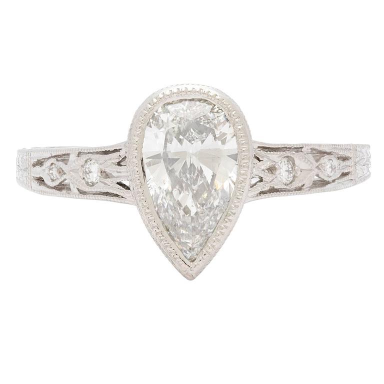 Pear Shape Diamond Deco Style Engagement Ring