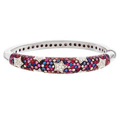 Italian Multi-Color Sapphire Star Motif Bangle Bracelet