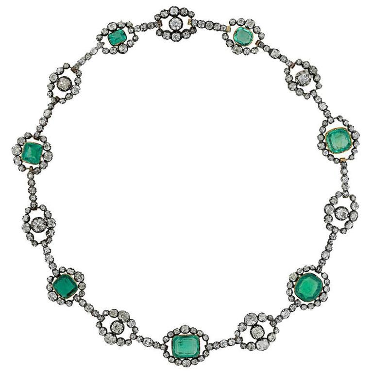 Antique Cushion Cut Emerald & Diamond Victorian Silver over Gold Necklace 1