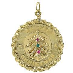 Christmas Tree Gold Gemset Charm