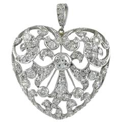 Antique Edwardian Diamond and Platinum Heart Drop