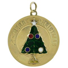 Merry Christmas Gold and Enamel Charm