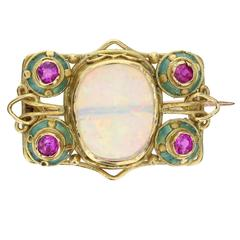 Arts and Crafts Opal Ruby Enamel Gold Brooch