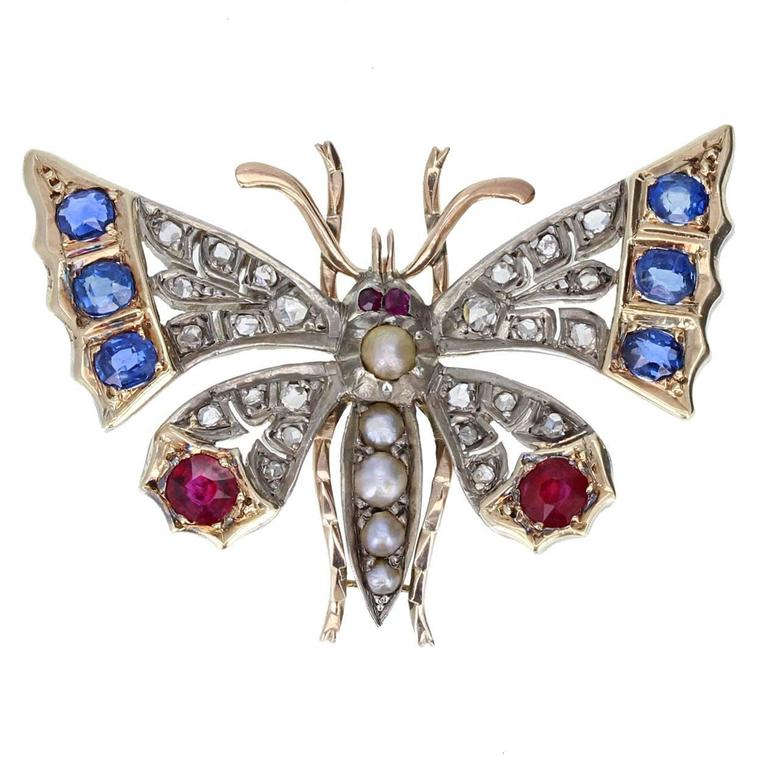 Antique Victorian Diamond Ruby Sapphire Pearl Gold Butterfly Brooch