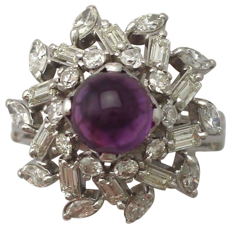 1950s 2.15 Carat Amethyst and 2.13 Carat Diamond White Gold Cocktail Ring
