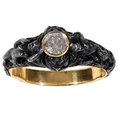 Art Nouveau Diamond Gold and Steel Sathyr Ring