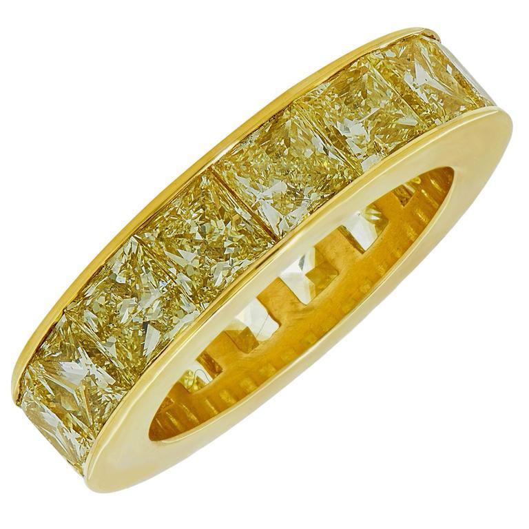 6.22 Carat Fancy Yellow Diamond Eternity Band