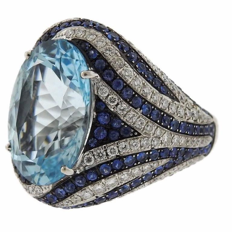 Asprey Gold Diamond Sapphire Blue Topaz Cocktail Ring