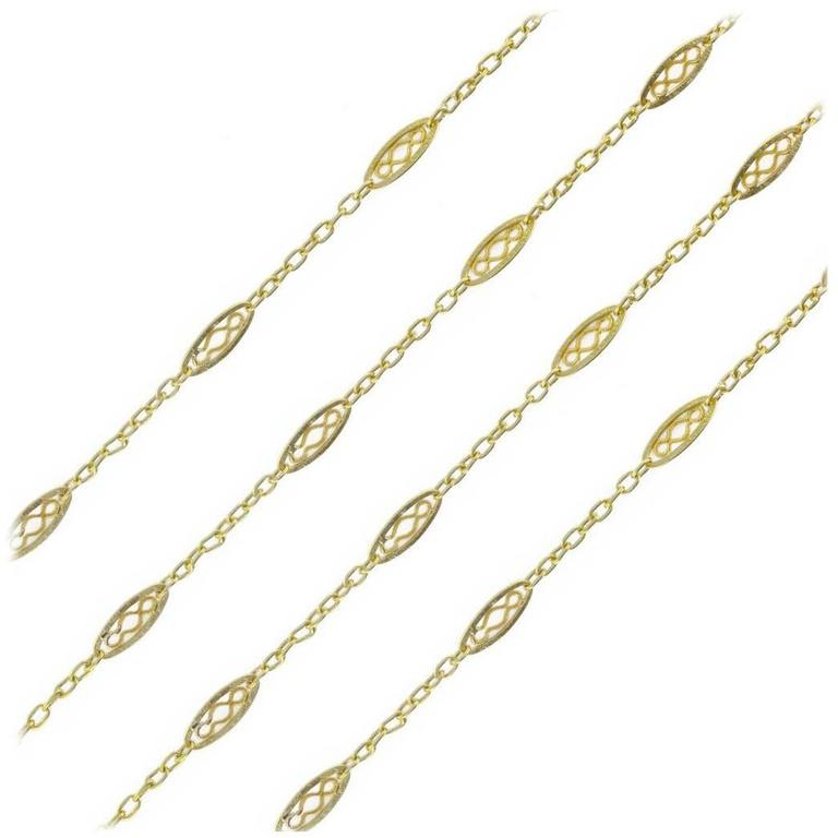 French 1930s Gold Long Necklace