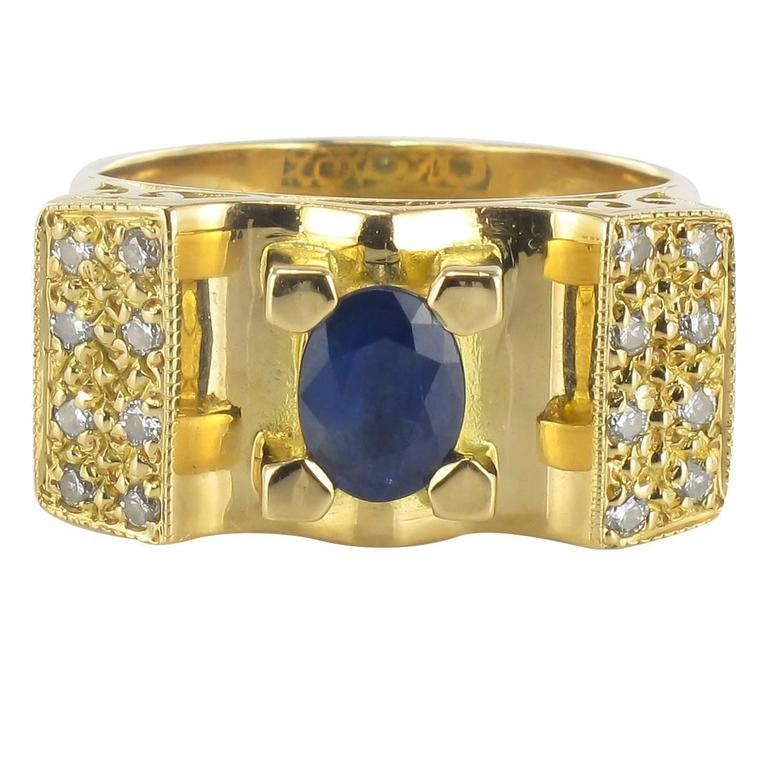 French 1960s Tank Style Sapphire and Diamond Ring  1