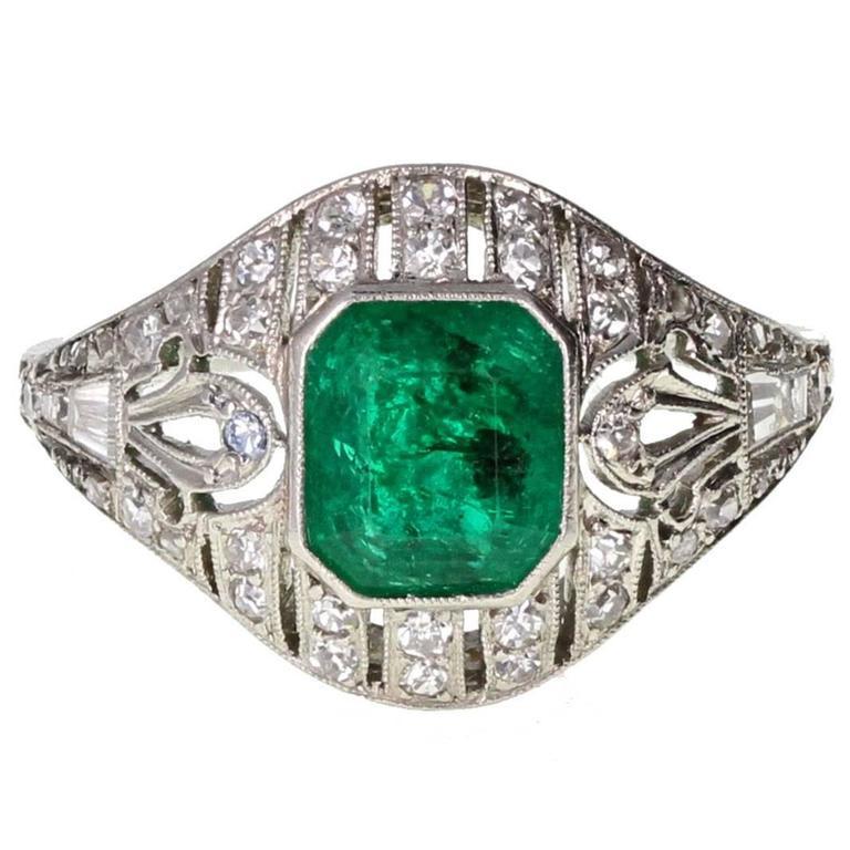 Art Deco Emerald Diamond Platinum Cluster Ring