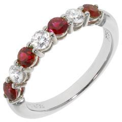 Tiffany & Co Ruby Diamond Gold Platinum Wedding Band Ring