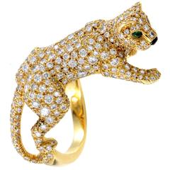 Cartier Panthere Yellow Gold Full Diamond Pave Ring