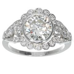 Late Art Deco Diamond European Cut Platinum Engagement Ring