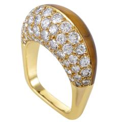 Mauboussin Yellow Gold Diamond and Tiger's Eye Band Ring