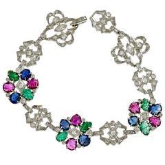 Diamond Carved Sapphire Emerald Ruby Platinum Bracelet