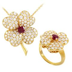 Van Cleef & Arpels Cosmos Yellow Gold Diamond and Ruby Pendant Necklace and Ring