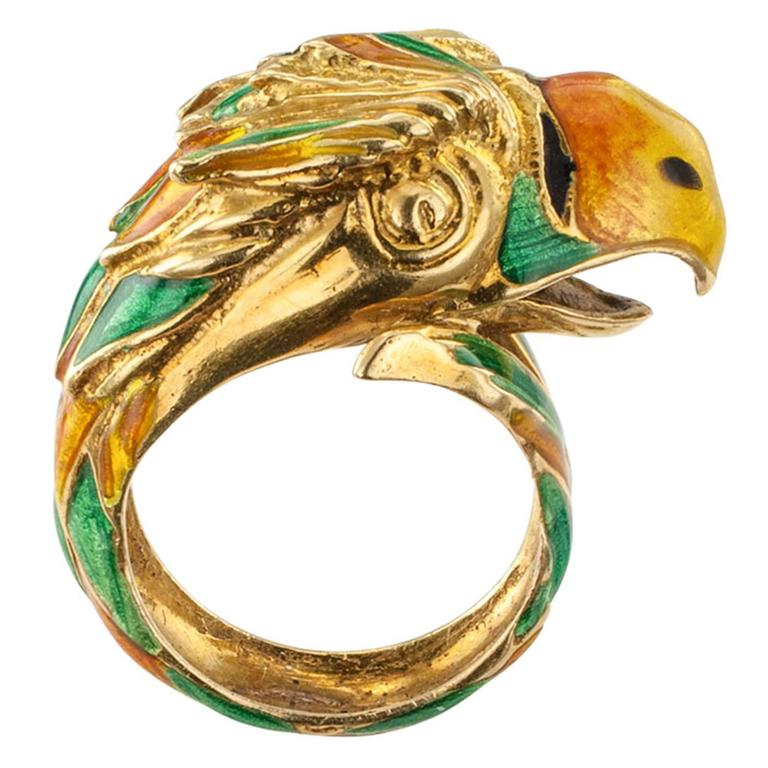 1970s Enamel and Gold Parrot Ring For Sale